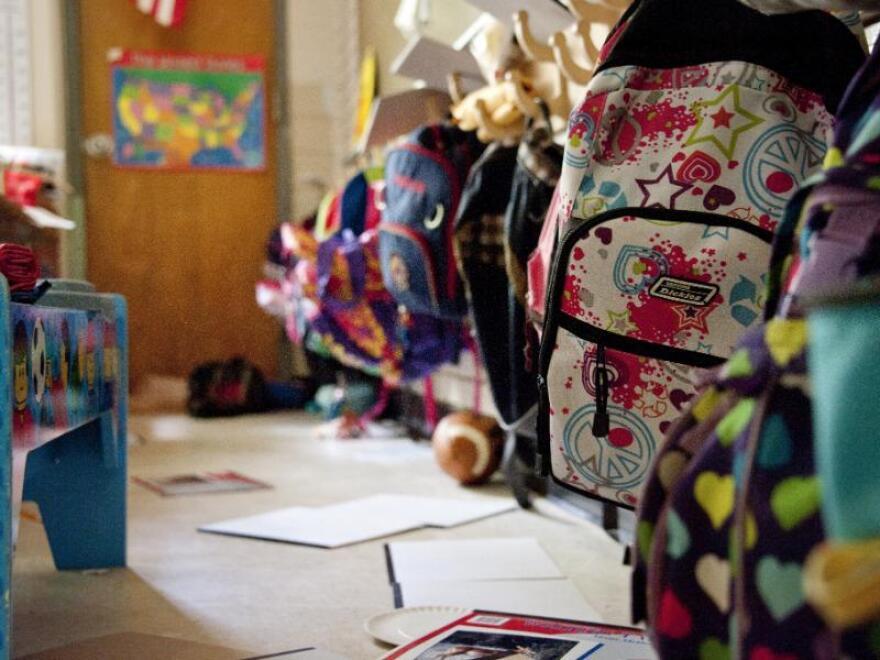 Backpacks on a shelf