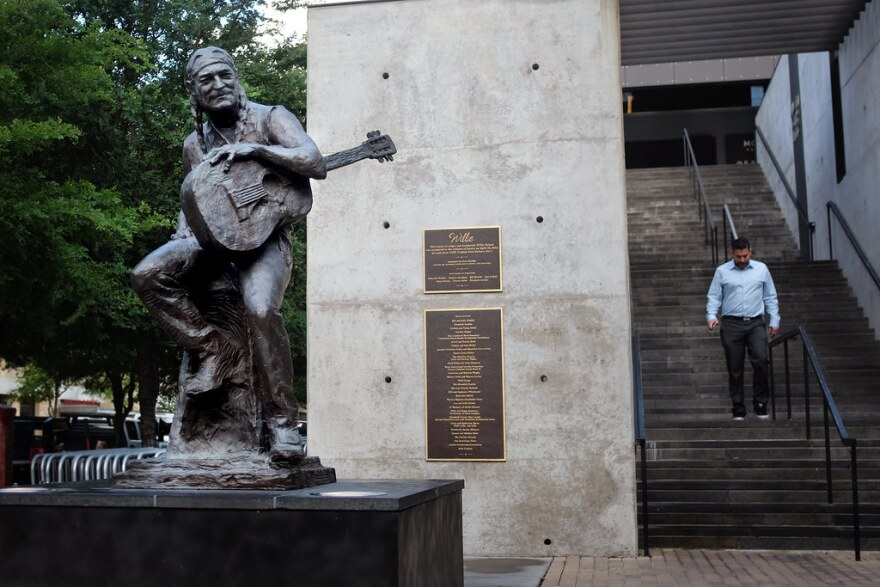 A Willie Nelson statue outside the Moody Theater in downtown Austin.