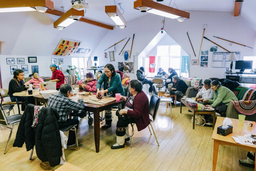 "The elders of Iqaluit have lunch at the local senior center. On Thursdays, what they call ""country food"" is on the menu, things like caribou, seal and ptarmigan."