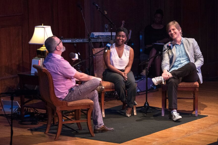 """We Live Here co-hosts Kameel Stanley (center) and Tim Lloyd (right) speak with """"To the Best of Our Knowledge"""" producer Charles Monroe-Kane in June, 2017."""