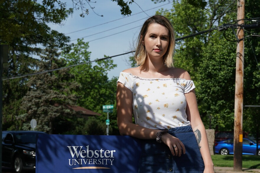 Tamsen Reed in front of the Webster University communications department building. May 17, 2019.