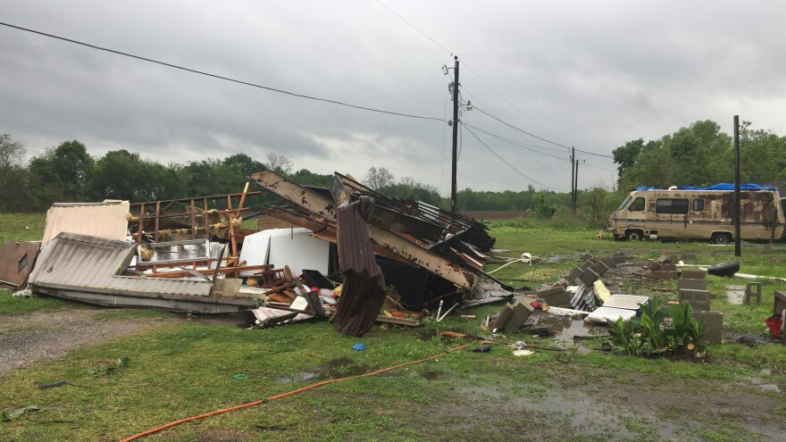 In this photo provided by the St. Martin Parish Sheriff's Office, the remains of a mobile home can be seen where a woman and her 3-year-old daughter were killed during a severe storm, in Breaux Bridge, La., on Sunday.