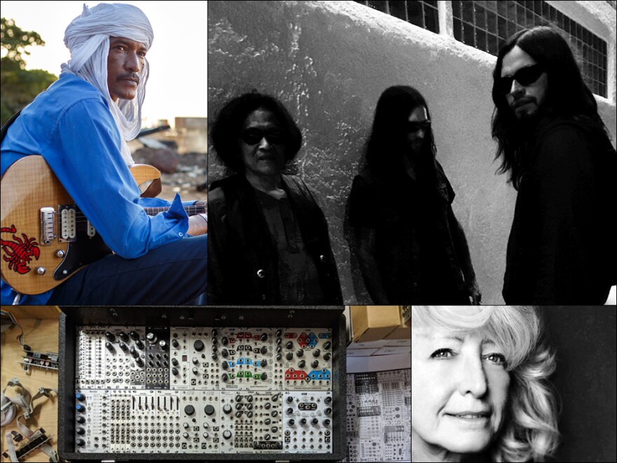 Clockwise from upper left: Ahmed Ag Kaedy (photo: Konrad Waldmann), Psychedelic Speed Freaks (photo: Anna Aguirre), Catherine Watine, Keith Fullerton Whitman's modular synthesizer.