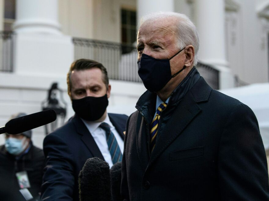President Biden speaks to the press before departing the White House for Milwaukee on Tuesday.
