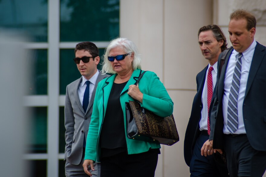 Former St. Louis Economic Development Partnership CEO Sheila Sweeney walks out of court after being sentenced to three years probation and fined $20,000 for her role in a corruption scheme. Aug 16, 2019