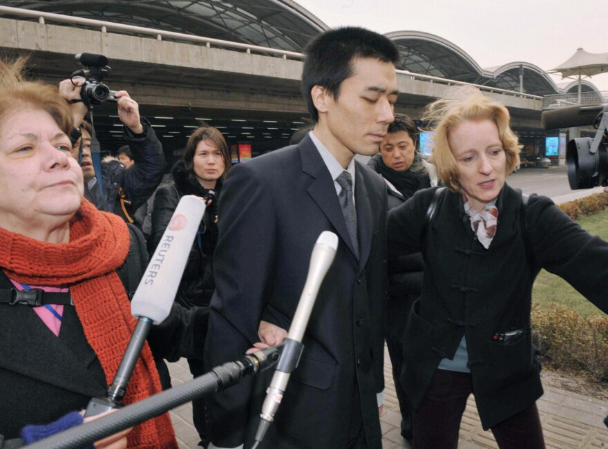 U.S. missionary Robert Park arrives at Beijing Capital International Airport from Pyongyang on Feb. 6, 2010. North Korea detained Park for 43 days for possessing a Bible.