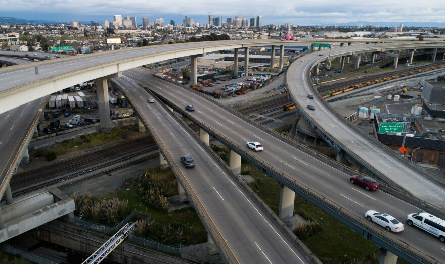 Freeways in Oakland, as in much of California, saw much lighter traffic — and fewer fatal traffic collisions — in the early weeks of the pandemic's stay-at-home rules.