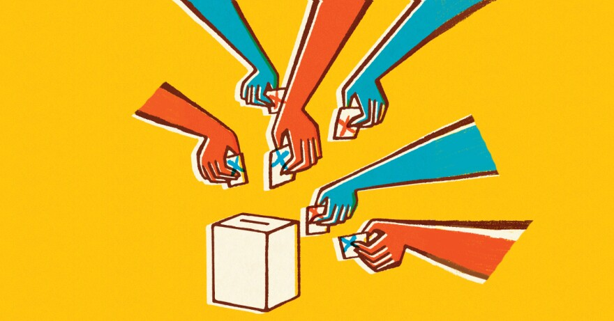 An illustration of red and blue colored hands dropping ballots into a box.