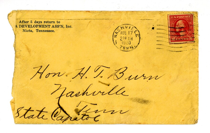 "The envelope that contained the <a href=""https://cmdc.knoxlib.org/digital/collection/p265301coll8/id/699"">letter Febb Burn wrote</a> to her son, Tennessee state Rep. Harry T. Burn, in which she urged him to vote for the 19th Amendment."