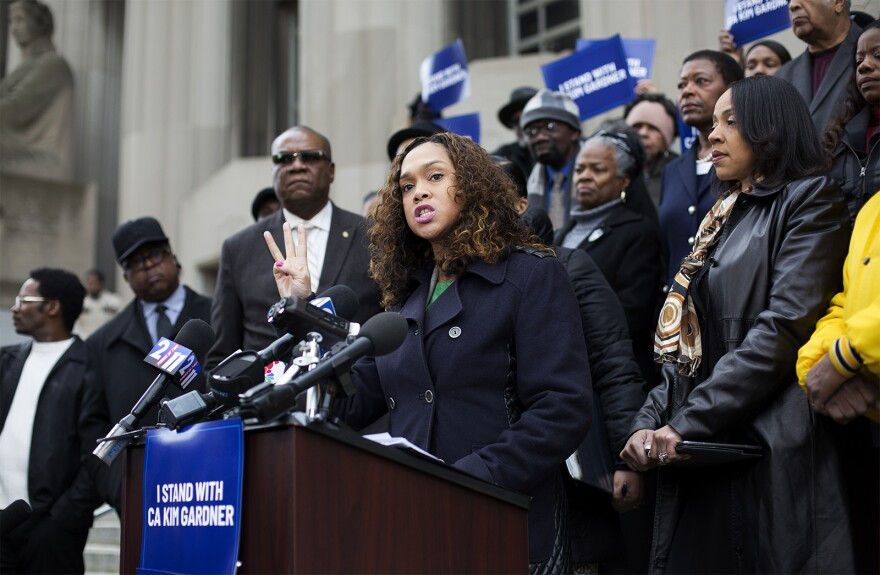 State's Attorney Marilyn Mosby, the top prosecutor in Baltimore, expressed support for St. Louis Circuit Attorney Kim Gardner during a press conference outside the Carnahan Courthouse on Jan. 14, 2020.