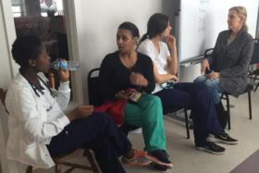Nursing students from the University of Massachusetts visit the Women's Program once a week to take blood-pressure measurements and to offer presentations on such topics as diabetes and traumatic brain injuries.