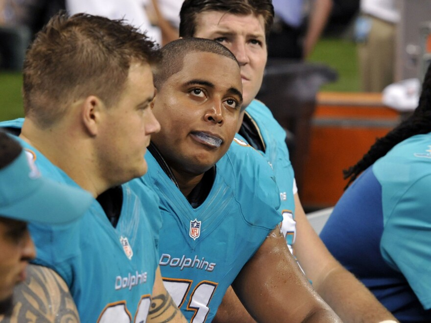 Then-Miami Dolphins Richie Incognito (left) and Jonathan Martin before Martin's departure.