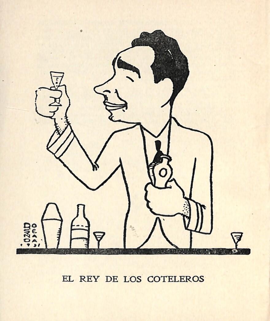 Illustration of Constantino Ribalaigua from a 1939 version of his book, <em>Cocktails: La Bar Florida.</em>