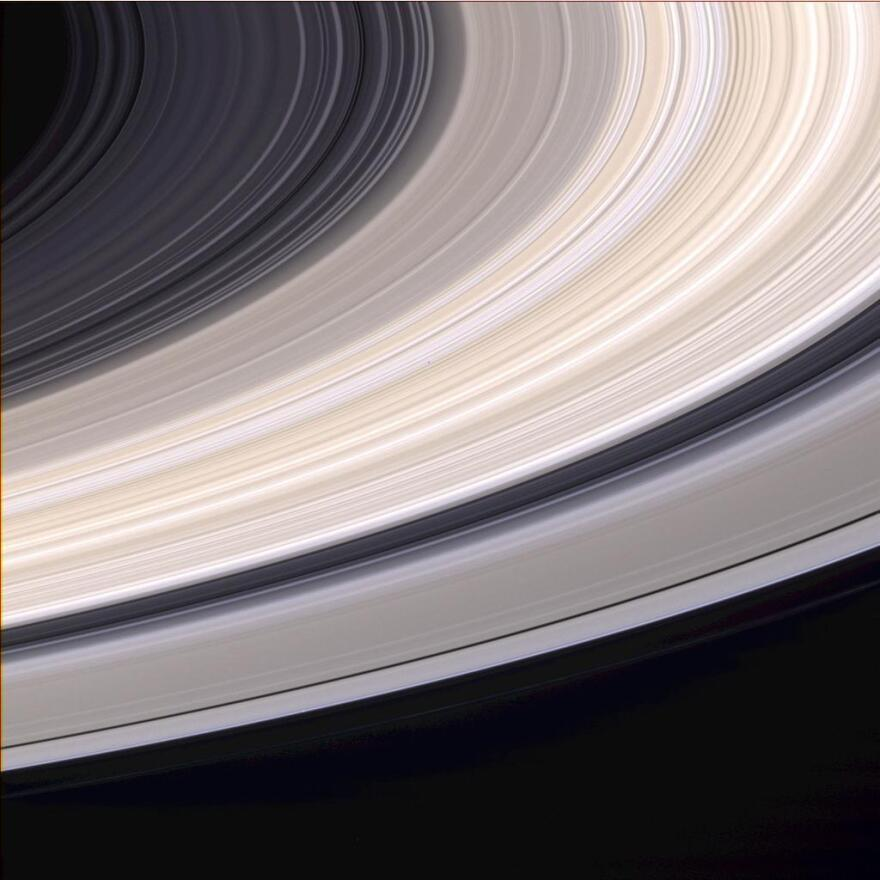 Cassini spacecraft captured this natural color view of Saturn's rings on June 21, 2004.