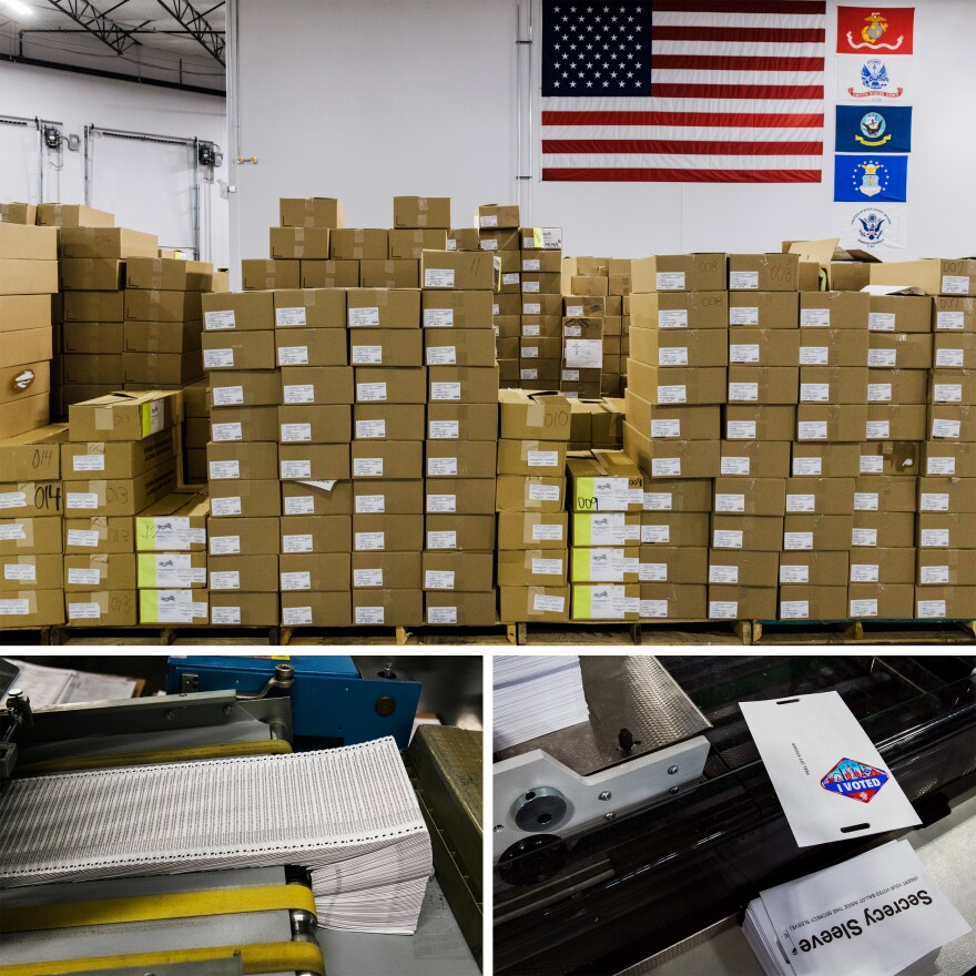 """Runbeck Election Services prints, sorts and compiles mail-in ballots for elections across the country. This batch included """"I voted"""" stickers for Las Vegas voters."""