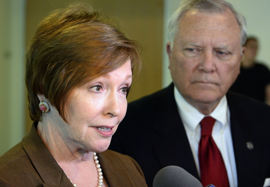 Brenda Fitzgerald, Georgia Department of Public Health commissioner, and Gov. Nathan Deal respond to questions about Ebola victims at Emory University Hospital and efforts to screen for Ebola in 2014. A report in <em>Politico</em> revealed documents showing several new investments, including in a tobacco company, by Centers for Disease Control and Prevention Director Brenda Fitzgerald.