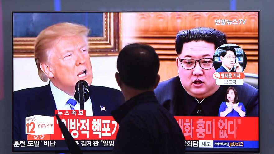 Images of President Trump and North Korean leader Kim Jong Un are shown in Seoul earlier this month. The two men are scheduled to meet on June 12, but there are doubts about when or whether a meeting will occur.