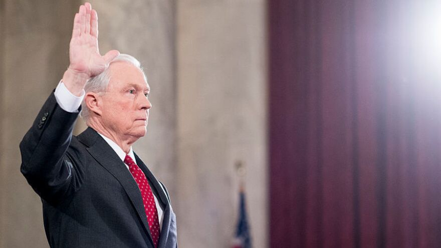 Sen. Jeff Sessions, R-Ala., is sworn in before testifying during the Senate Judiciary Committee hearing on his confirmation hearing last month to be attorney general.