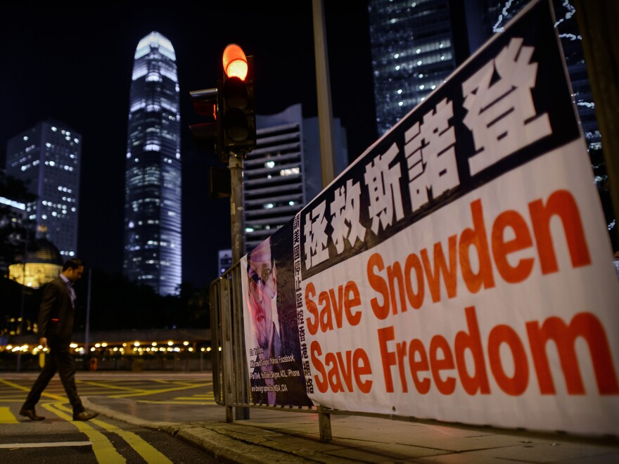 A banner shows support for Edward Snowden, in Hong Kong on Monday.
