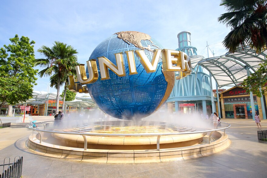 View of a large rotating globe fountain in front of Universal Studios on September 18, 2016 in Sentosa island, Singapore
