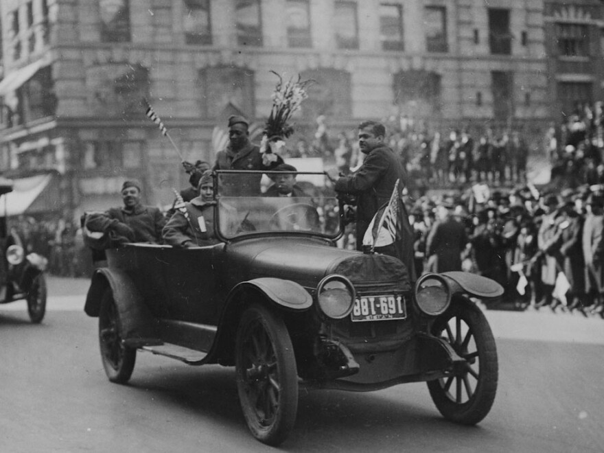 Sgt. Henry Johnson and the Harlem Hellfighters' parade is shown as it passes through New York in February 1919.