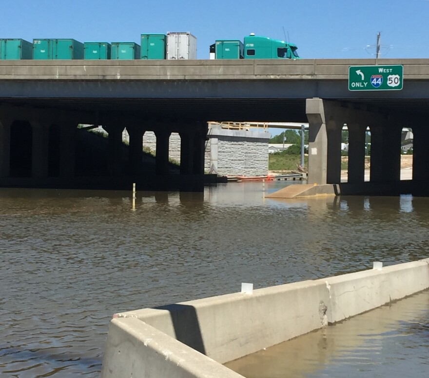 Traffic is still flowing along I-44 at Valley Park. The exit beneath the interstate remained closed Sunday morning because of high water.