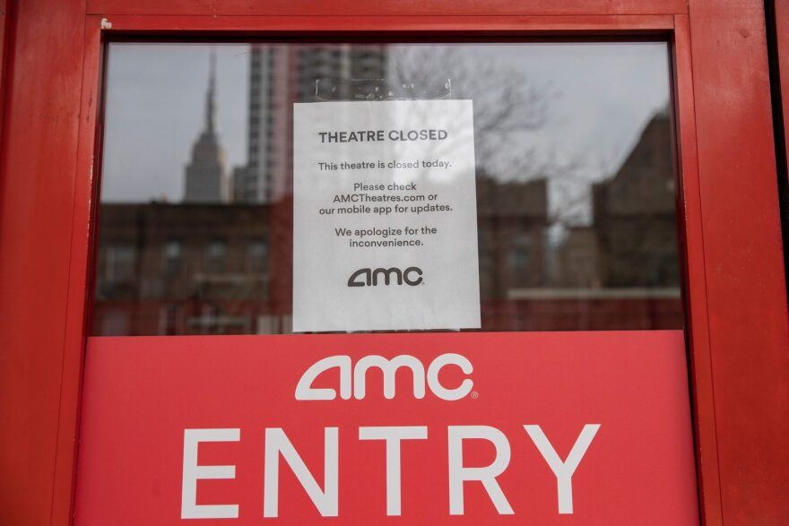 An AMC theater remains closed in New York City.