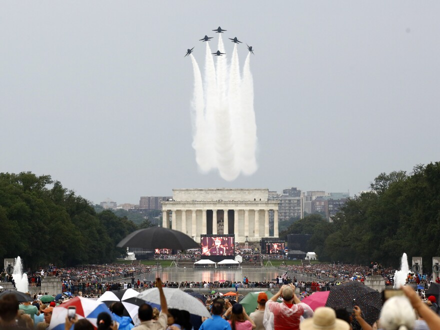 The U.S. Navy Blue Angels flight demonstration team performs a flyover above the Lincoln Memorial during Independence Day celebrations on July 4 on the National Mall in Washington, D.C..