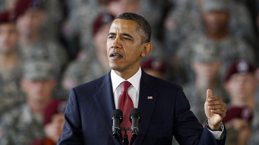 President Obama speaks to troops at Fort Bragg, N.C., in December 2011.