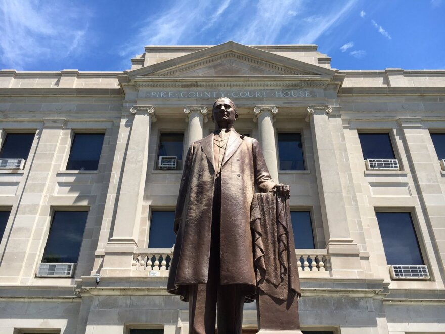 A statue of former U.S. House Speaker Champ Clark stands before the Pike County Courthouse. Democrats like Clark controlled most of northeast Missouri's offices for decades. Now, the GOP rules the roost.