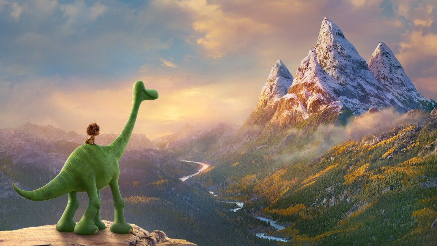 Arlo the dinosaur befriends Spot, a feral boy, on his journey to find his way home in <em>The Good Dinosaur.</em>