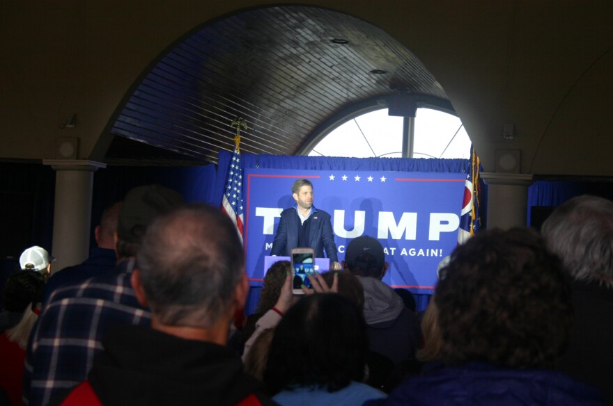 Trump For President Campaign Surrogate Eric Trump speaks at the Cedar Springs Pavilion on October 28, 2020