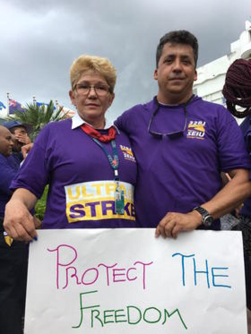 Iris Castro and Jose Ferrer both walked off the job at Ultra Aviation.