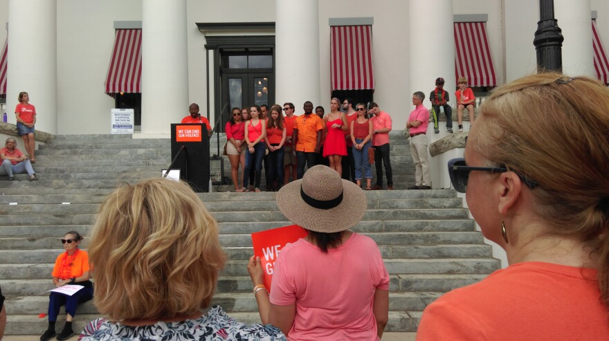 Speakers at the rally stood on the steps of the Historic Florida Capitol.