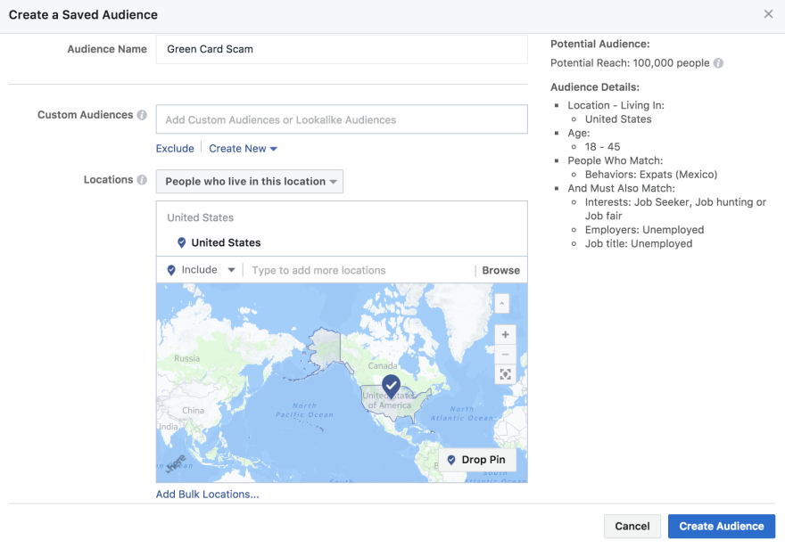 Aimclear, a marketing agency, created this ad search term for green card fraud to demonstrate how Facebook ads can be targeted to certain users.