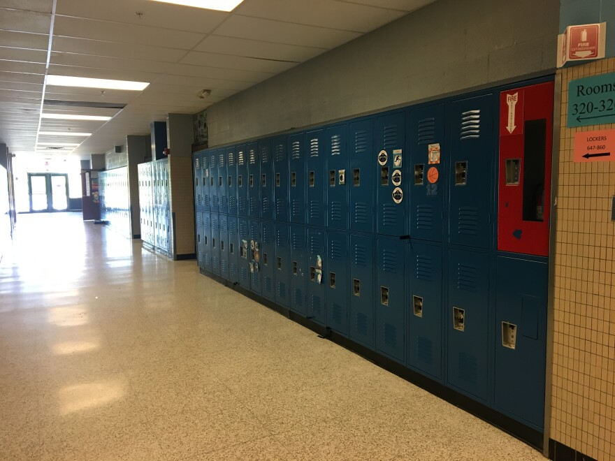 An empty hallway at a middle school in Westerville