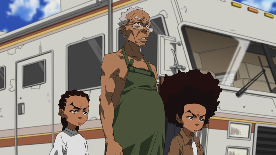 """Riley, Granddad and Huey in a scene from the """"Breaking Granddad"""" episode of the animated series <em>The Boondocks.</em>"""