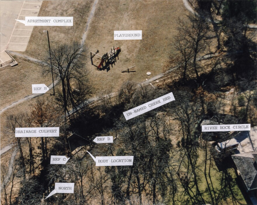 An aerial view of a creek, labeled by police, of where 9-year-old Amber Hagerman's body was found.