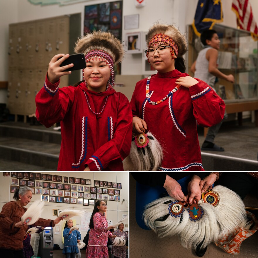 Top: Keziah Therchik (left) and Angel Charles take a selfie before performing Yup'ik dancing in Toksook Bay. Left: Dora Nicholai (in pink) dances at a community center, where portraits of the community's elders hang on a wall. Right: Women show Yup'ik dance fans.