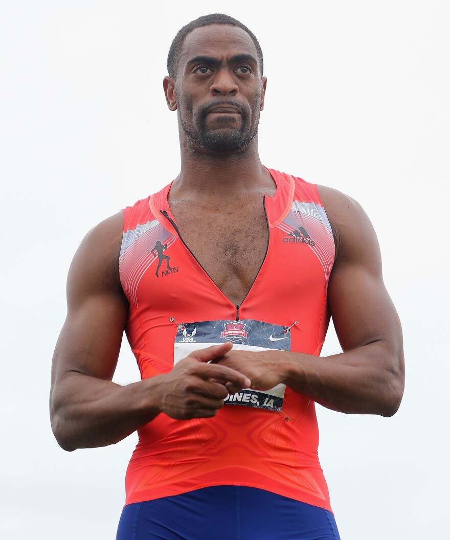 Tyson Gay reacts after winning the Men's 200 Meter Dash final on day four of the 2013 USA Outdoor Track & Field Championships at Drake Stadium in June in Des Moines, Iowa.