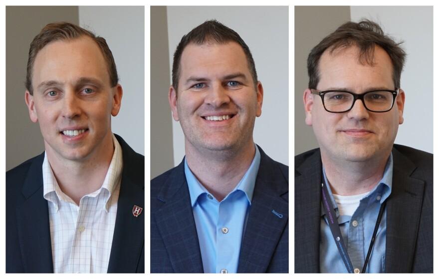From left, Gregg Favre, David Lott and Christopher Gordon joined Wednesday's talk show.