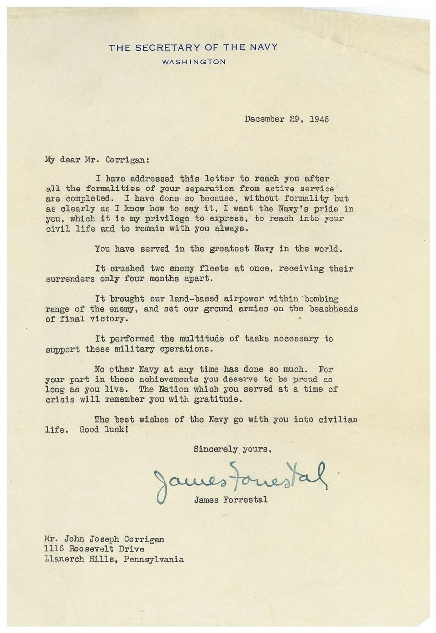Letter to John Joseph Corrigan from James Forrestal.