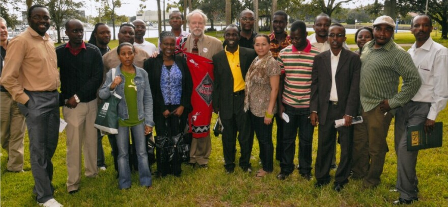 African journalists from the 2010 Edward R. Murrow Program for Journalists pose along the USF St. Pete waterfront
