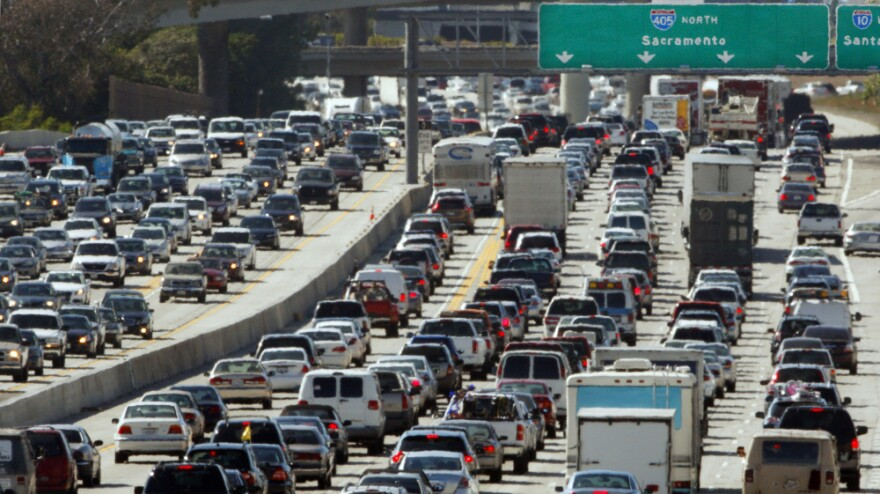 Bumper-to-bumper traffic plagues Interstate 405 near Los Angeles. The freeway will be closed for 53 hours starting Friday for a billion-dollar widening  project.
