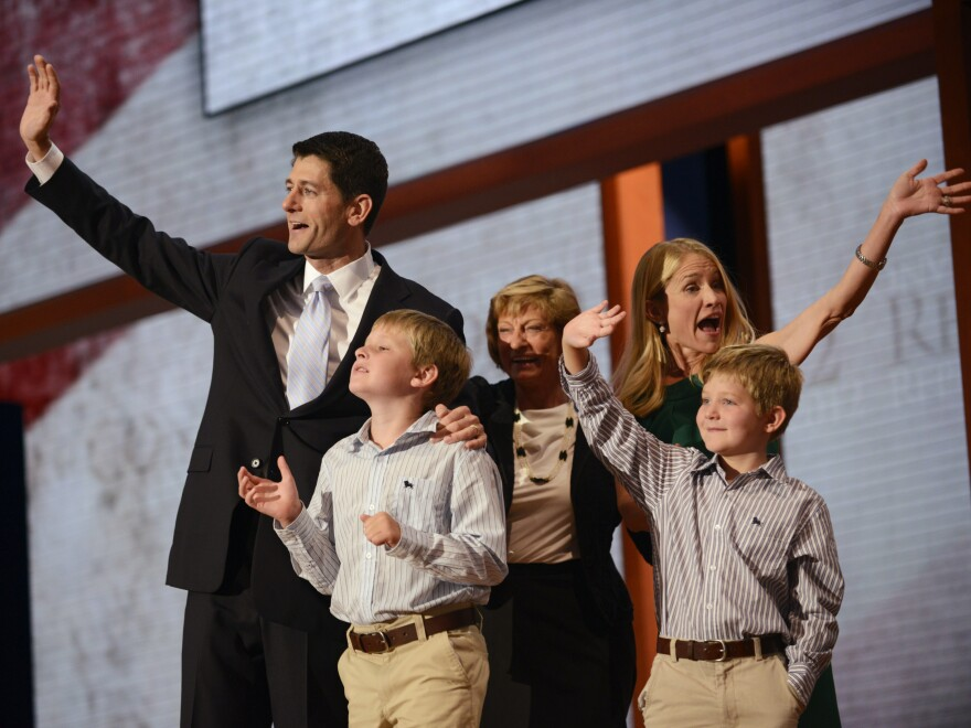 Republican vice presidential nominee Paul Ryan and his wife, Janna (at right), along with two of their children and his mother, Betty, on stage Wednesday in Tampa.