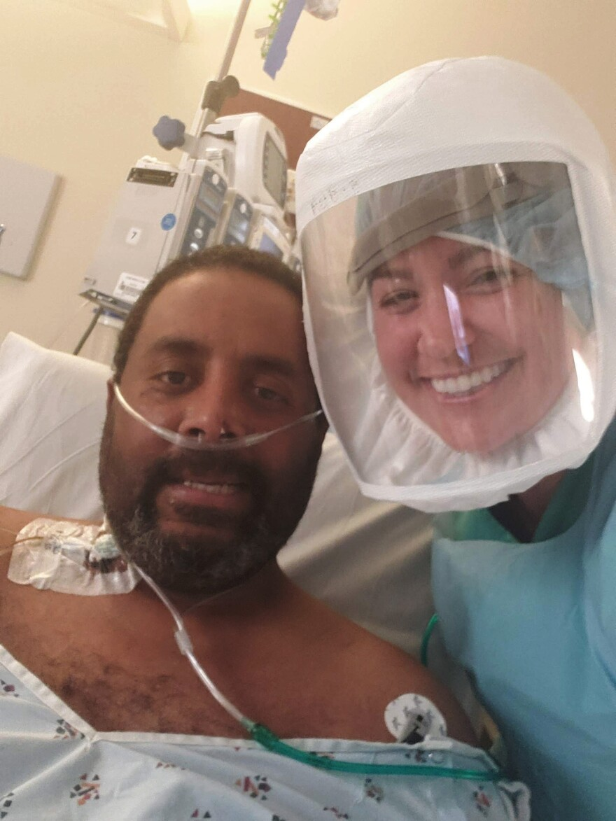 A selfie of David Williams and nurse Melanie Bryant during his stay at the John L. McClellan Memorial Veteran's Hospital in Little Rock, Ark. Williams spent eight days on a ventilator during treatment for COVID-19.