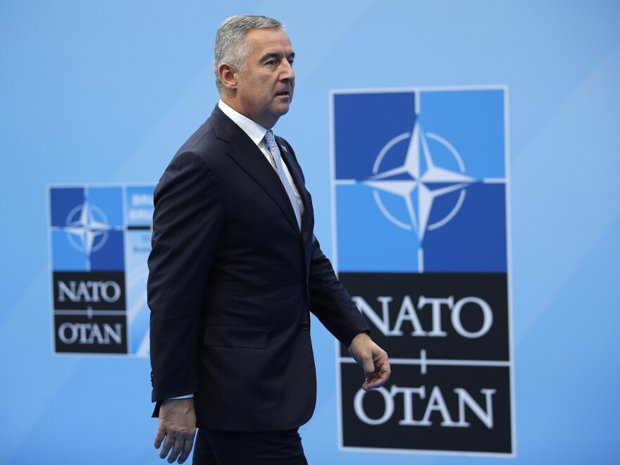 Montenegro's President Milo Djukanovic arrives for a summit of heads of state and government at NATO headquarters in Brussels earlier this month.