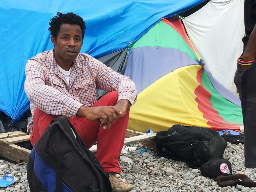 Ezimwa Chimezie emigrated from Nigeria and has reached Costa Rica in the hopes of making it into the U.S. He is staying at a makeshift camp for migrants on the Costa Rica-Panama border.