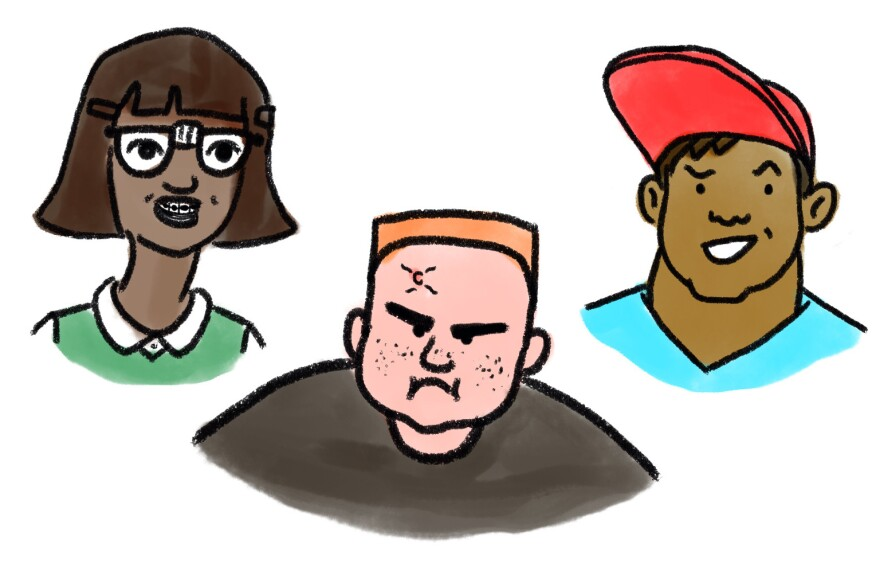 <strong>Middle school stereotypes:</strong> Nerd, Bully and Jock.