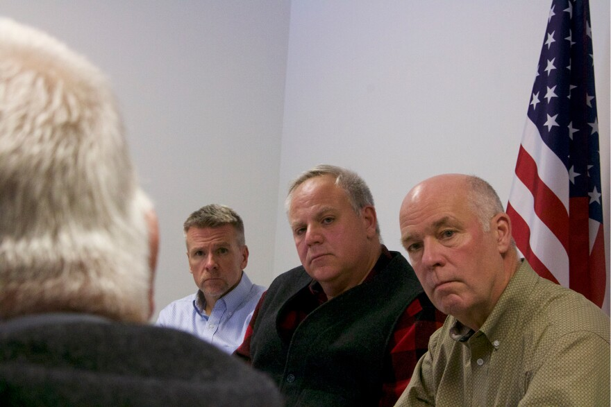Regional Director of the U.S. Fish and Wildlife Service Matt Hogan, U.S. Interior Secretary David Bernhardt and Montana U.S. House Rep. Greg Gianforte listen to residents of the Rocky Mountain Front talk about conflict with grizzly bears, Oct 5, 2019.